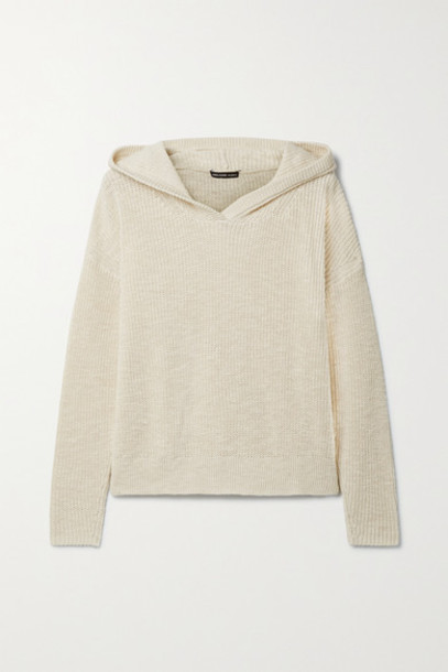 James Perse - Ribbed Cotton And Linen-blend Hoodie - Cream