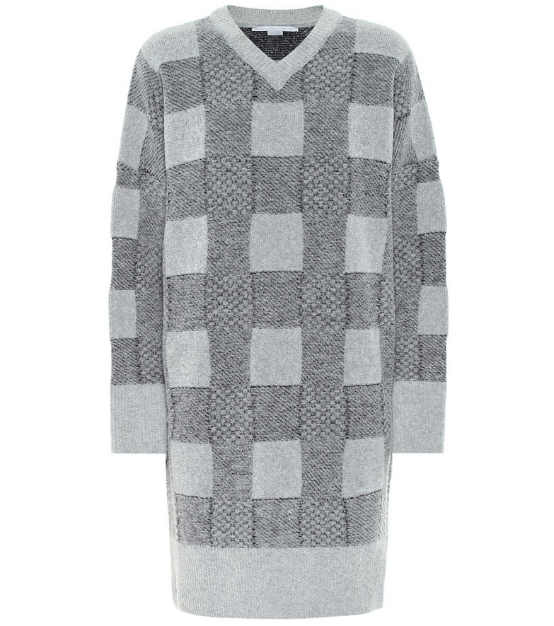 Stella McCartney Checked wool-blend sweater dress in grey