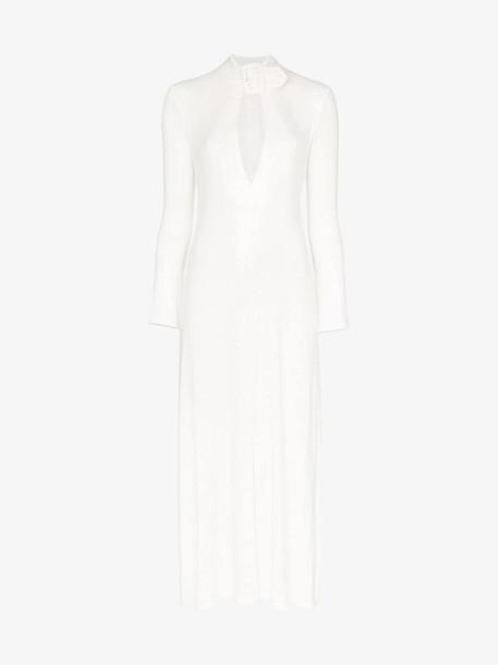 Attico long sleeve sequin midi dress in white
