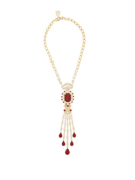 Dolce & Gabbana - Crystal Embellished Necklace - Womens - Red