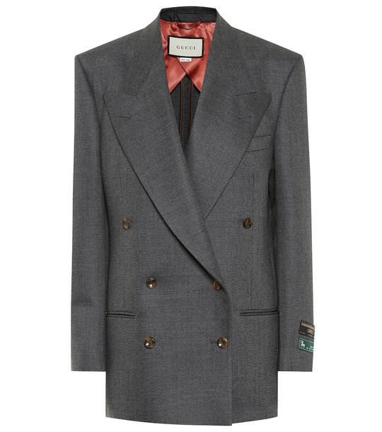 Gucci Double-breasted wool blazer in grey