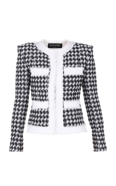 Balmain Collarless Houndstooth Tweed Jacket in black / white