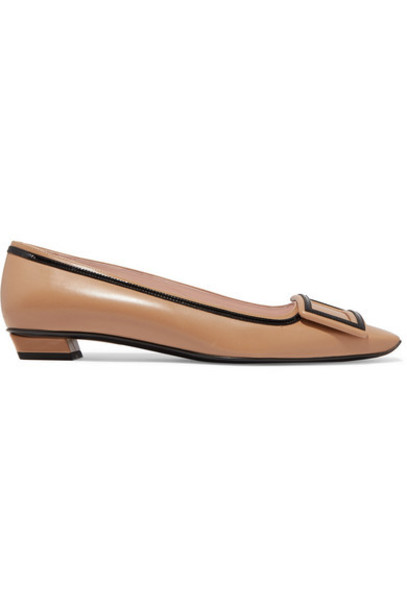 Roger Vivier - Belle Vivier Graphic Patent-trimmed Leather Flats - Beige