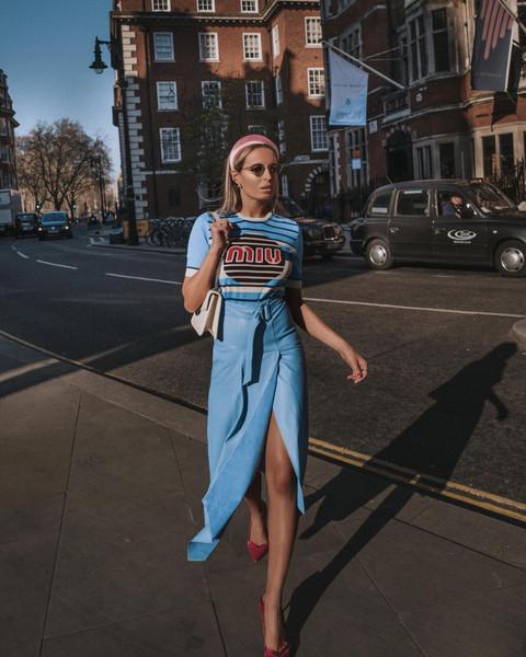 camila carril blogger t-shirt shoes sunglasses dress pants bag jacket hat blue skirt midi skirt pumps spring outfits