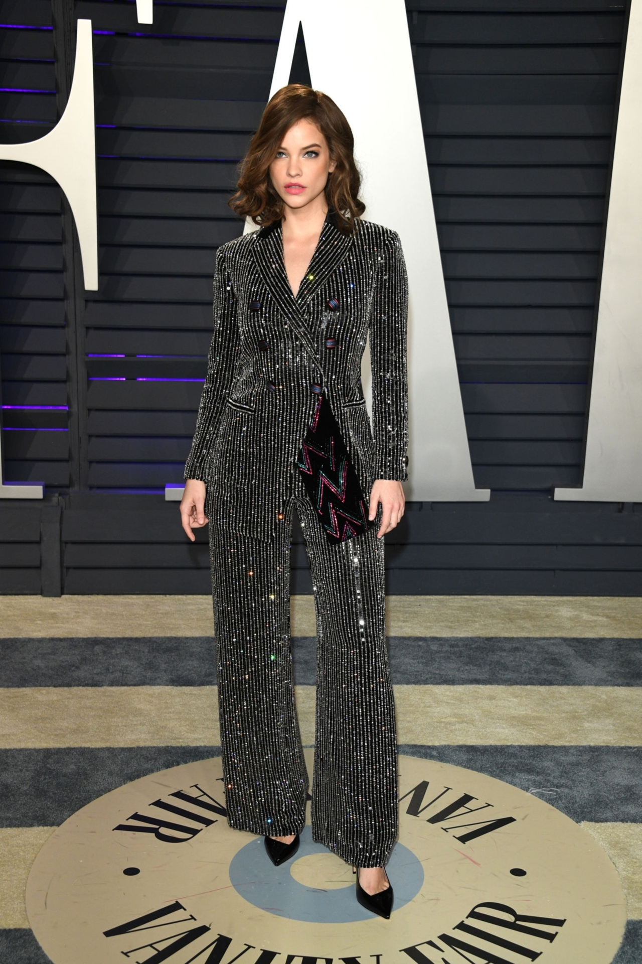 shoes barbara palvin celebrity oscars sparkle stripes suit blazer pants