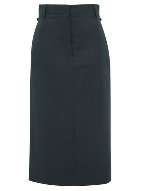 Acne Studios - Ixandra Tailored Twill Midi Skirt - Womens - Dark Green