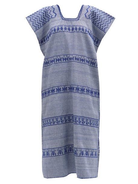 Pippa Holt - No. 216 Striped Embroidered Cotton Kaftan - Womens - Blue Print