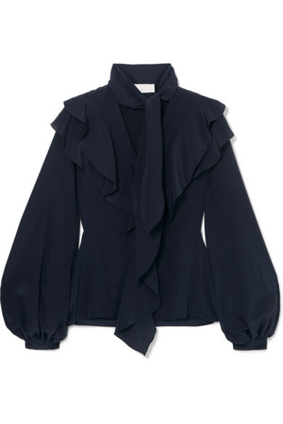 Peter Pilotto - Ruffled Silk-georgette Blouse - Navy