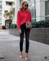 bag,crossbody bag,chloe,pumps,black skinny jeans,knitted sweater,red sweater,sunglasses