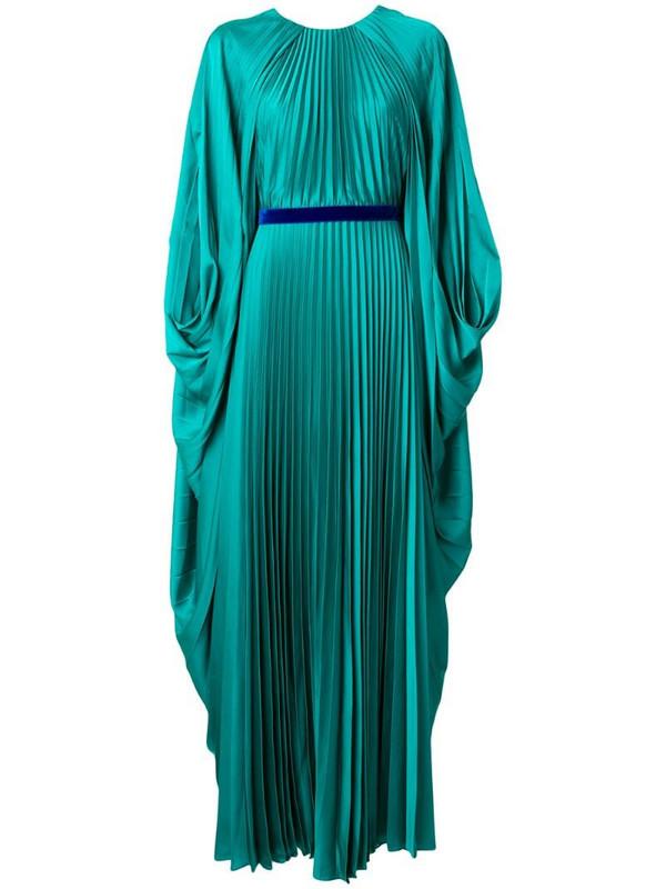 Roksanda belted draped sleeve gown in green
