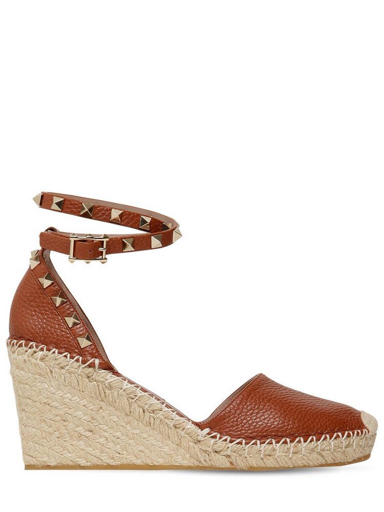 VALENTINO 85mm Rockstud Double Leather Espadrilles in brown
