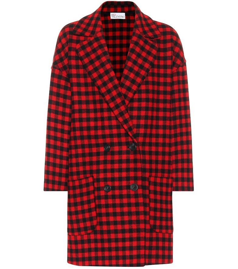 REDValentino Checked wool-blend coat in red