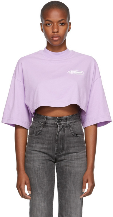 Palm Angels Purple Missoni Edition Cropped Sport T-Shirt in lilac