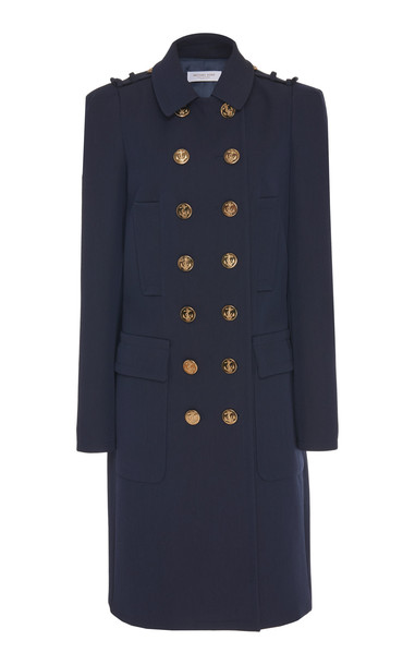 Michael Kors Collection Wool-Blend Gabardine Military Trench Coat Size in blue