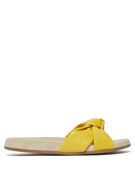 Charlotte Olympia - Knotted Leather Slide - Womens - Yellow