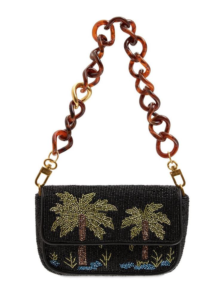 STAUD Mini Tommy Beaded Chain Shoulder Bag in black