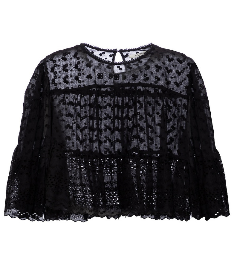 Isabel Marant, Étoile Tevika broderie anglaise cotton top in black