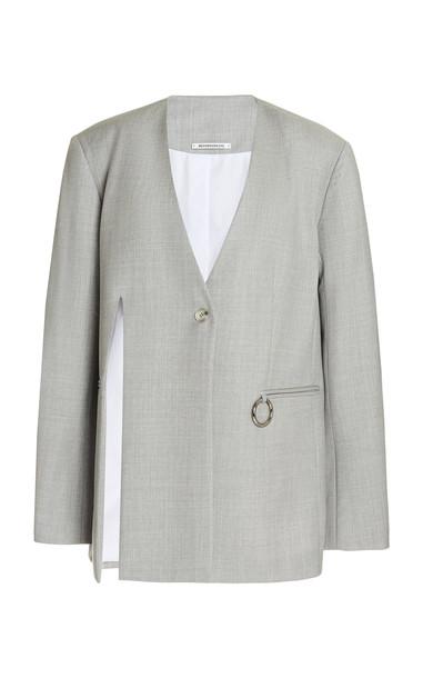 Boyarovskaya Oversized Metal-Detailed Cutout Wool Jacket in grey