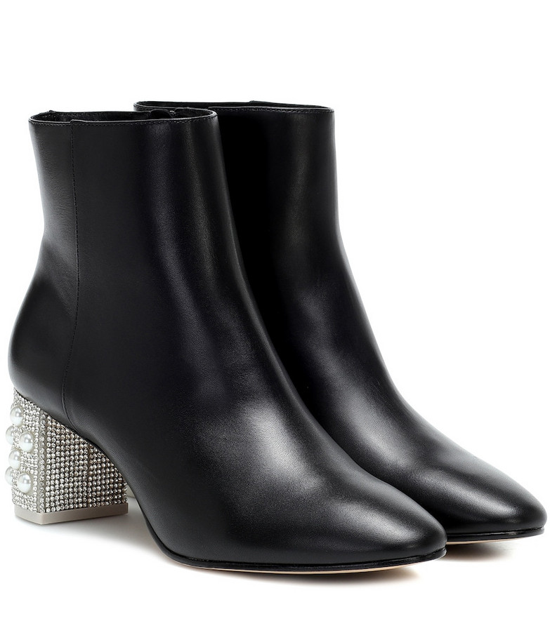Sophia Webster Toni embellished leather ankle boot in black