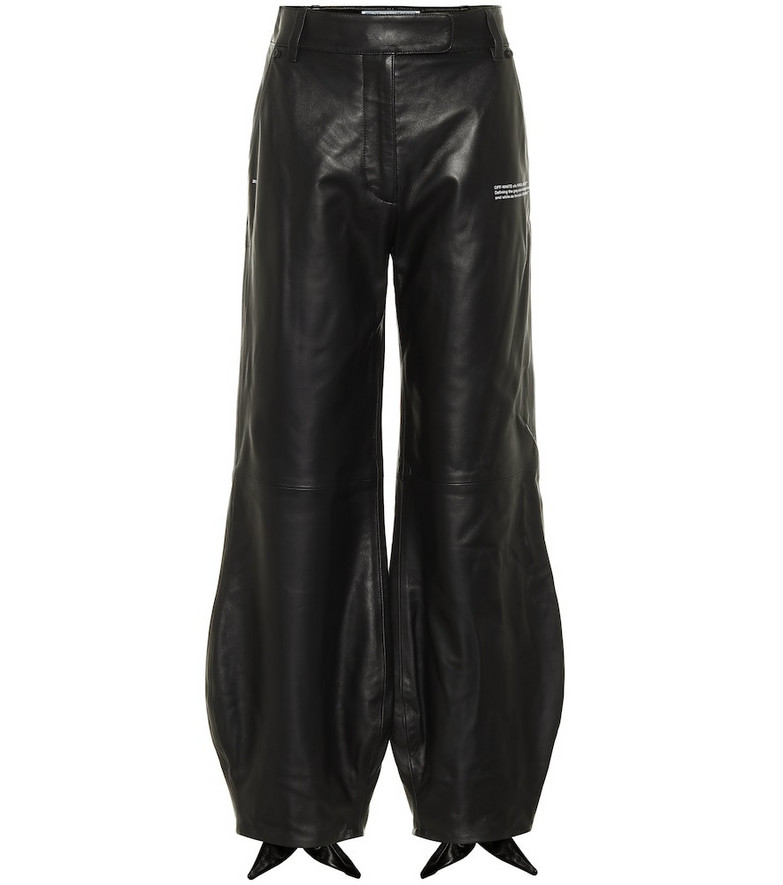 Off-White Bow cuff leather pants in black