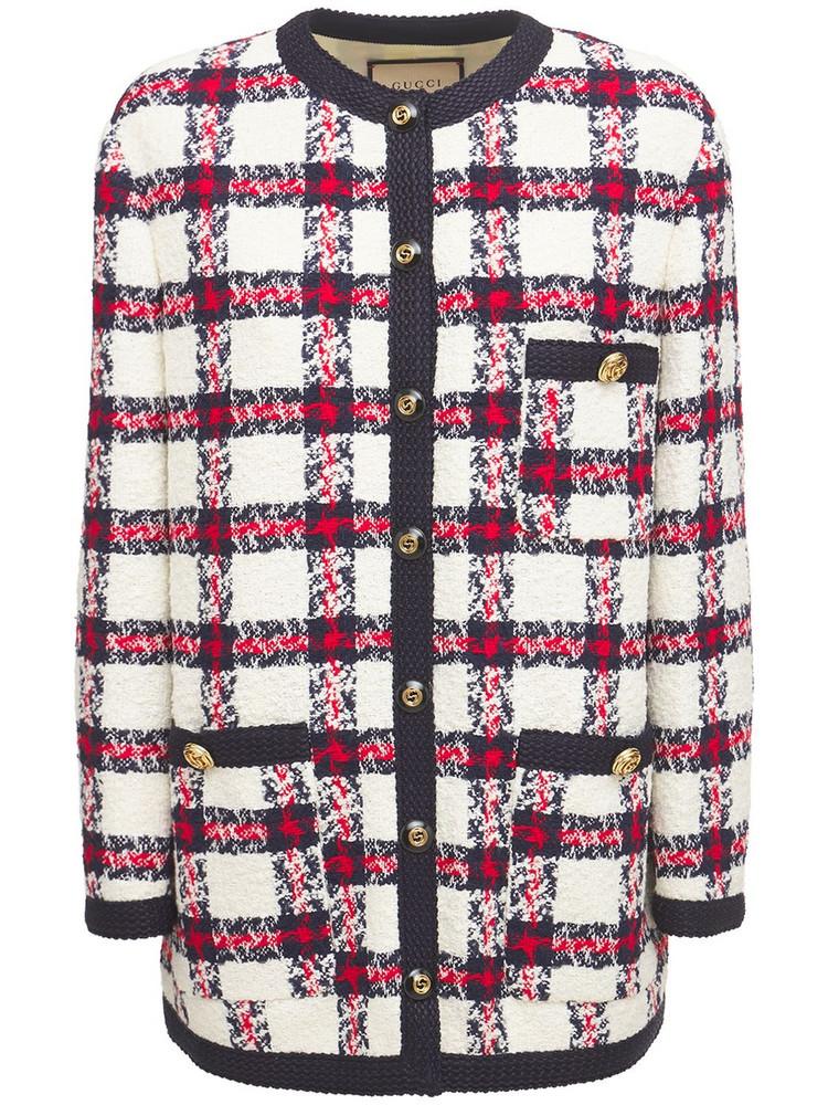 GUCCI Web Wool Blend Tweed Jacket in blue / white