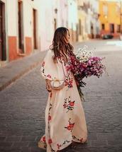 dress,maxi dress,floral,crossbody bag
