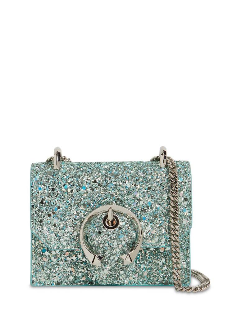 JIMMY CHOO Mini Paris Gel Snake Printed Leather Bag in mint
