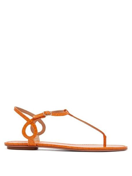 Aquazzura - Almost Bare Crocodile Embossed Leather Sandals - Womens - Orange