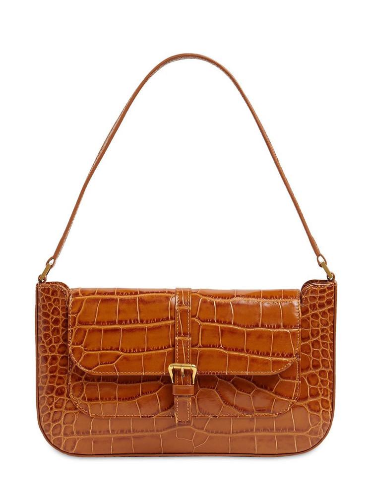BY FAR Miranda Croc Embossed Leather Bag in tan