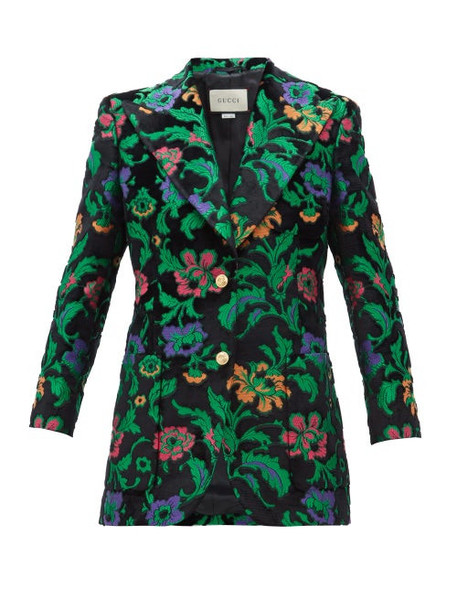 Gucci - Single Breasted Floral Jacquard Velvet Jacket - Womens - Black Multi