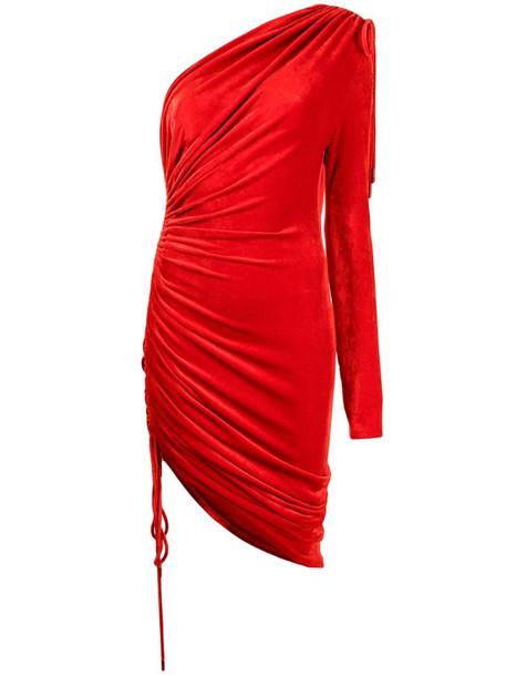 Monse one-shoulder ruched velvet dress in red