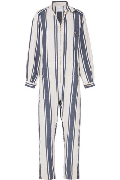 Lucy Folk - Beachside Striped Cotton-blend Jumpsuit - White