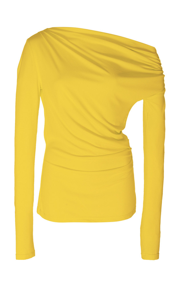 Acler Harmon Draped Stretch-Modal Top Size: 2 in yellow