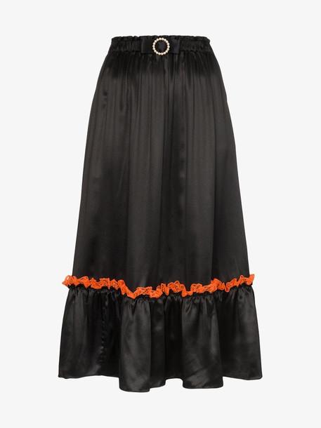 Shrimps lace trim midi skirt in black