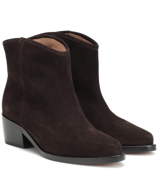 Legres Western Low suede ankle boots in brown