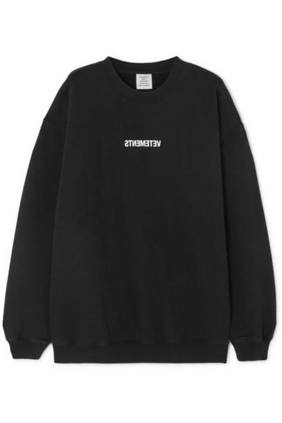 Vetements - Printed Cotton-jersey Sweatshirt - Black