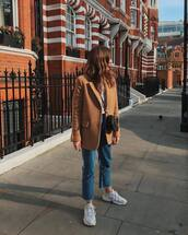 jacket,blazer,straight jeans,cropped jeans,high waisted jeans,white sneakers,white t-shirt,black bag