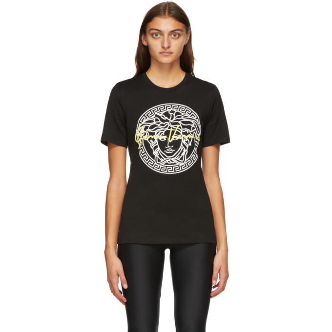 Versace Black Signature Medusa T-Shirt in nero