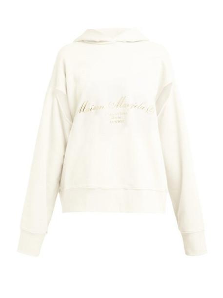 Mm6 Maison Margiela - Logo Print Oversized Cotton Hooded Sweatshirt - Womens - Cream