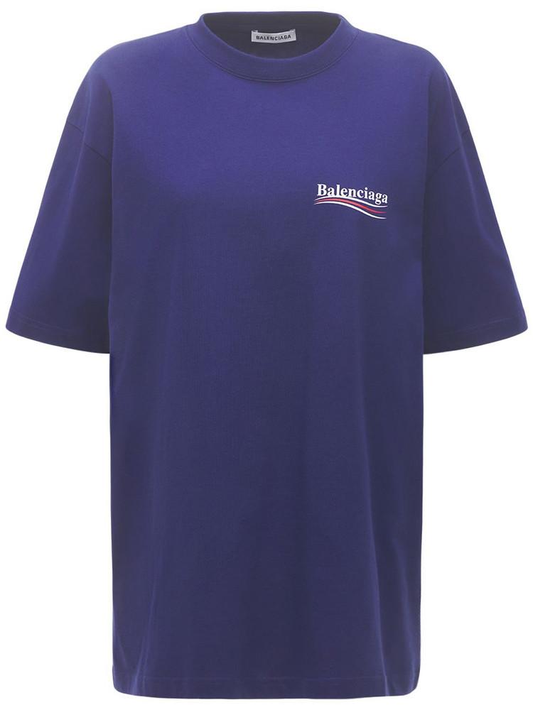 BALENCIAGA Political Logo Cotton Over T-shirt in blue