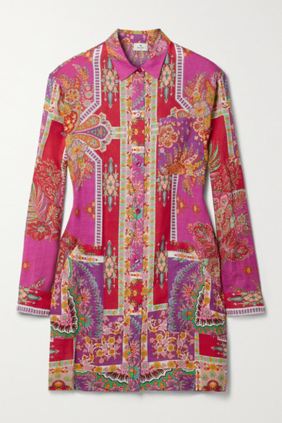 Etro - Sardegna Printed Ramie Mini Shirt Dress - Pink