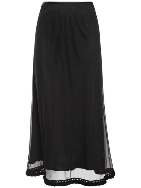 JIL SANDER Silk Knit Skirt in black