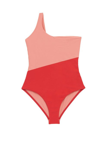 Casa Raki - Magda Asymmetric Two-tone Swimsuit - Womens - Red Multi