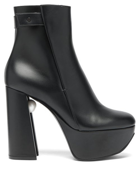 Nicholas Kirkwood - Miri Faux Pearl Embellished Leather Platform Boots - Womens - Black