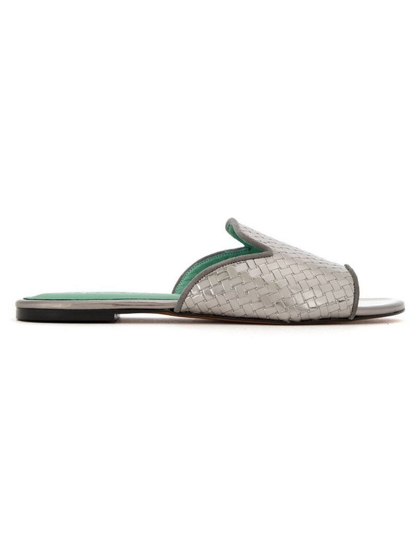 Blue Bird Shoes patent leather woven mules in grey