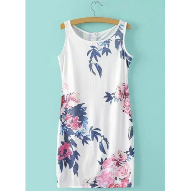 dress floral summer white spring fashion trendy beach rosewholesale.com