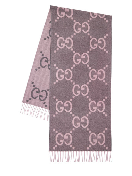 GUCCI Gg Cashmere Jacquard Scarf in pink