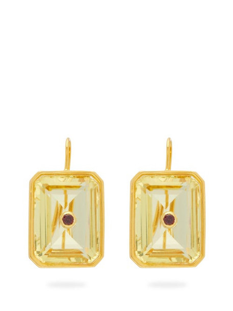 Lizzie Fortunato - Tile Citrine & Gold-plated Drop Earrings - Womens - Yellow