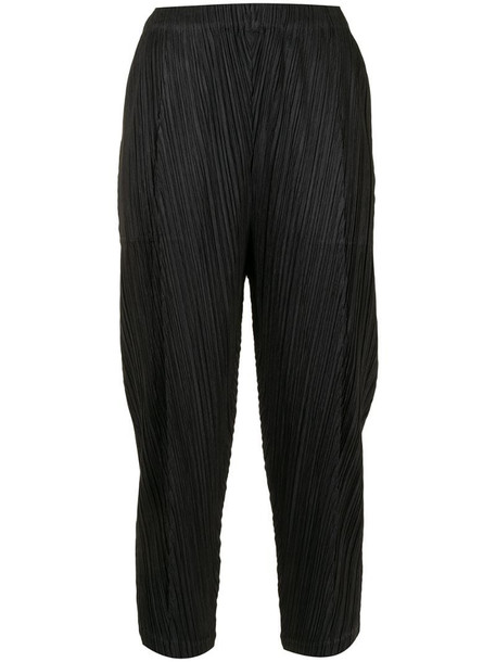 Pleats Please Issey Miyake micro-pleated cropped trousers in black