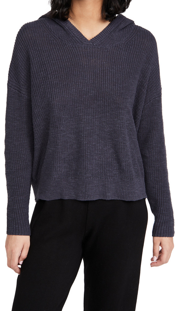 James Perse Cotton Linen Hoodie in blue / grey